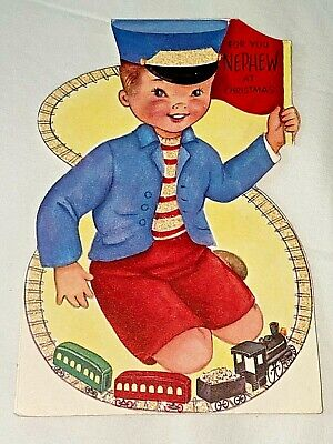 Vintage 1950's Rust Craft Christmas Card ~ Boy Playing with Train Set