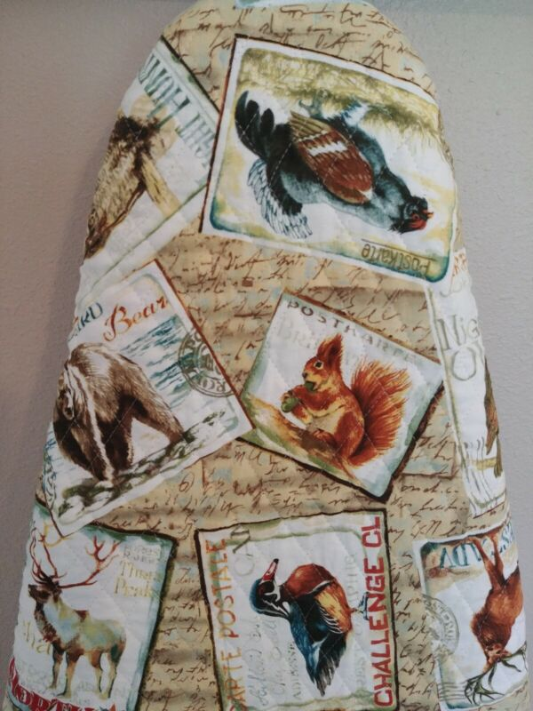 Ironing board cover, Reversible, Padded, Quilted Handmade, Northwoods Postcard