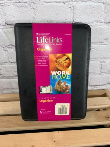 """New AT-A-GLANCE Life Links  Black Zippered Organizer Planner ~ 5 1/2""""  x 8 1/2"""""""