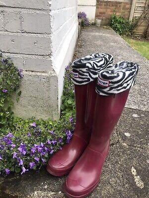 Hunters Original Tall Wellies Womens Ladies Size 6 With Hunter Socks