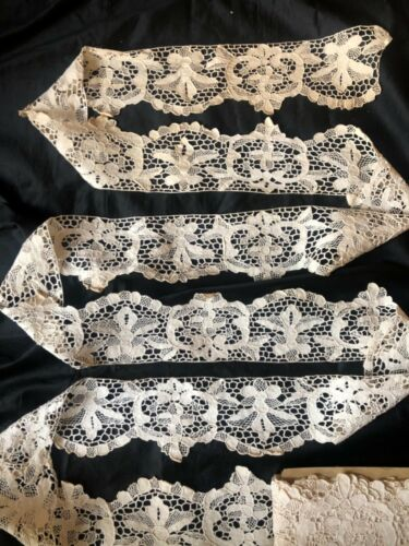 """10 ydsx 4.1/2""""Antique Hand Made Needle Lace Early 20thC-MIN.3 YARD PURCHASE 1055"""