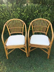 Vintage Cane/wicker/bamboo armchair & provincial living cushion