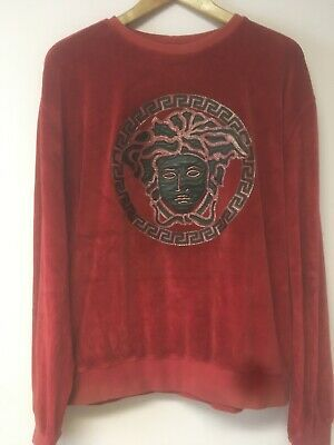 Versace Leather Velour Velvet Crewneck Sweater Sweatshirt 5XL Fits Like 2XL