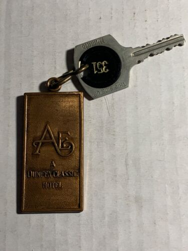 Ambassador East Hotel Motel Room Key BRASS Fob & Key Chicago Illinois #351 RARE