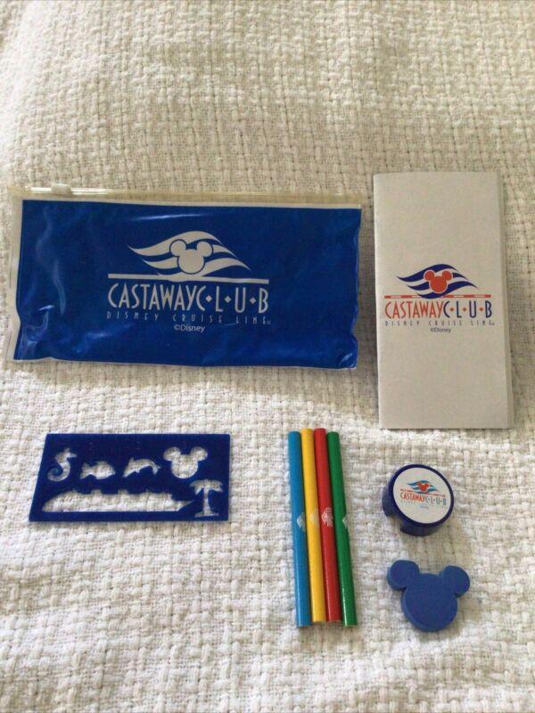 Disney Cruise Line Castaway Club Pencil Case Stencil Sharpener Pencils Notepad