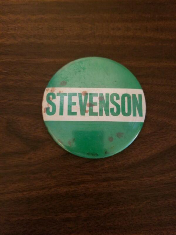 "Vintage STEVENSON Button Pin 4"" Green and White"
