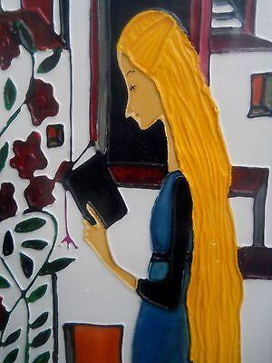 GARCIA i PICCIONE Mixed Media acrylic glass enamel oil GIRL WITH BOOK Spanish