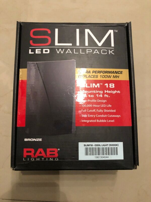 Rab Lighting Slim18 LED Wallpack 5000K Bronze Slim 18 COOL