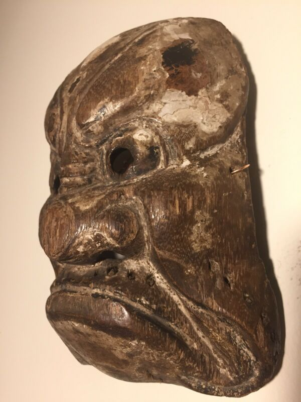 Antique Japanese Wooden Beshimi-Mask Muromachi-Momoyama PATINA