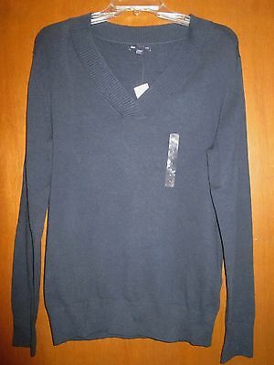 "NWT GAP L NAVY Pullover Sweater Undrarms22.5"" Slv26"" L27"" CotNylElast RibbdCuffs"