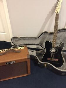 Electric Fender guitar, case and Kustom amplifier
