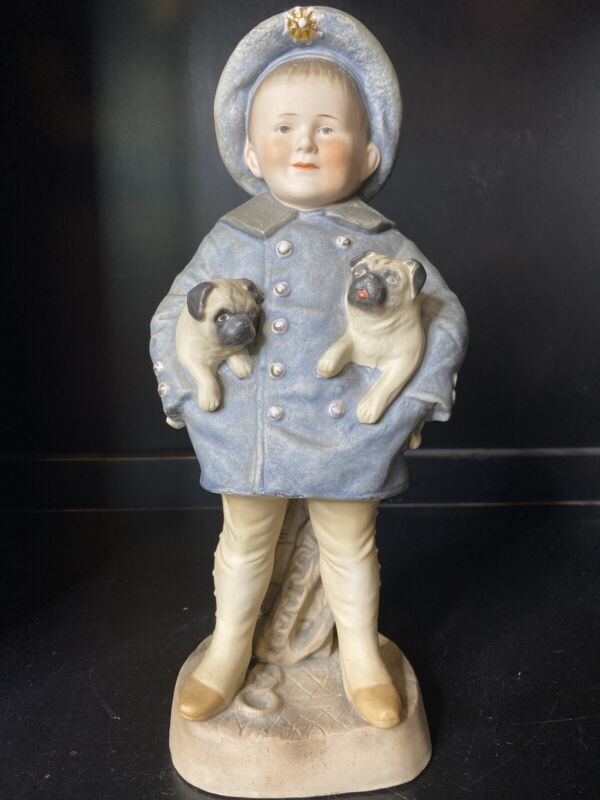 Rare Antique German Bisque Boy With Pug Dogs Piano Baby Statue Figure