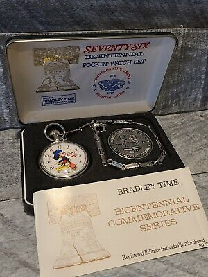 """""""76"""" Bradley Time Bicentennial Mickey Mouse Pocket Watch Registered Edition"""