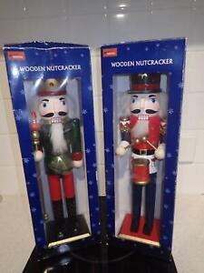 """Two wooden 14"""" Nutcracker soldiers Christmas decorations"""