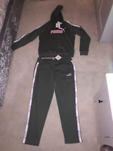 Puma Womens Size 14 Tracksuit Set Khaki Pink White Puma Logo Brand New With Tags