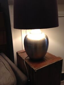 Large IKEA table lamp . Metal with with purple