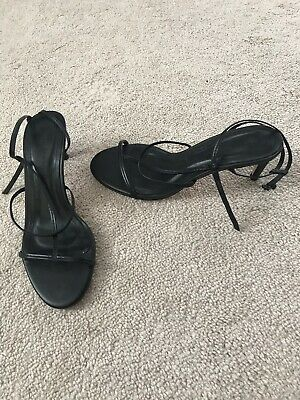 New Zara High Heeled Leather Strappy Sandals 6.5 37