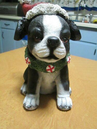 "Resin Dog w/ Santa Hat 7.75""H Figurine"