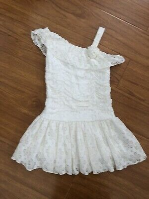 Ivory Lace Dress For Girls (Girls Lace Dress For Wedding/party Off White Size)