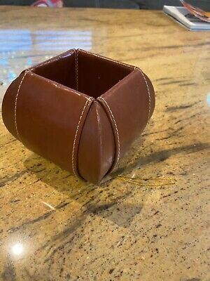 Office Supplies Desk Organizer - Brown Leather Pencil Cup