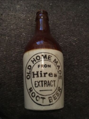 """HIRES OLD HOME MADE 2 TONE 7 1/4"""" CROWN TOP STONEWARE ROOT BEER BOTTLE"""