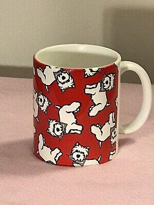 MarcTetro Westie on red background ceramic mug shots NYC. Never used - Mug Shot Background