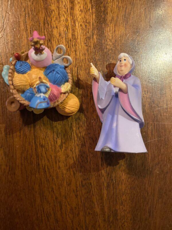 Disney's Cinderella 2 Figurines Fairy Godmother And Mice Basket