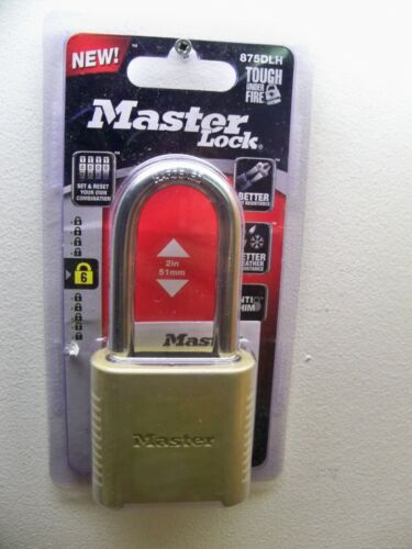 """MASTER LOCK PADLOCK 875DLH BRASS SET YOUR OWN COMBINATION 2"""" LONG SHACKLE"""