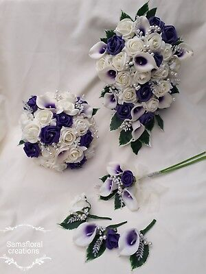 Purple / Blue Ivory Rose Calla Lilly Bouquet Wedding Bride Bridesmaid Flowergirl