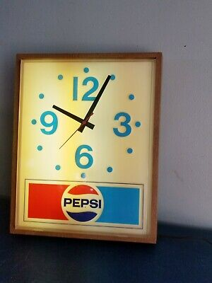 (VTG) 1970s pepsi cola sods advertising store gas station light up clock sign
