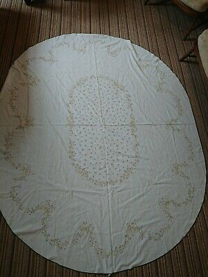 Beautiful Cotton Vintage Large Oval Tablecloth Eternal Beau Early 1980's