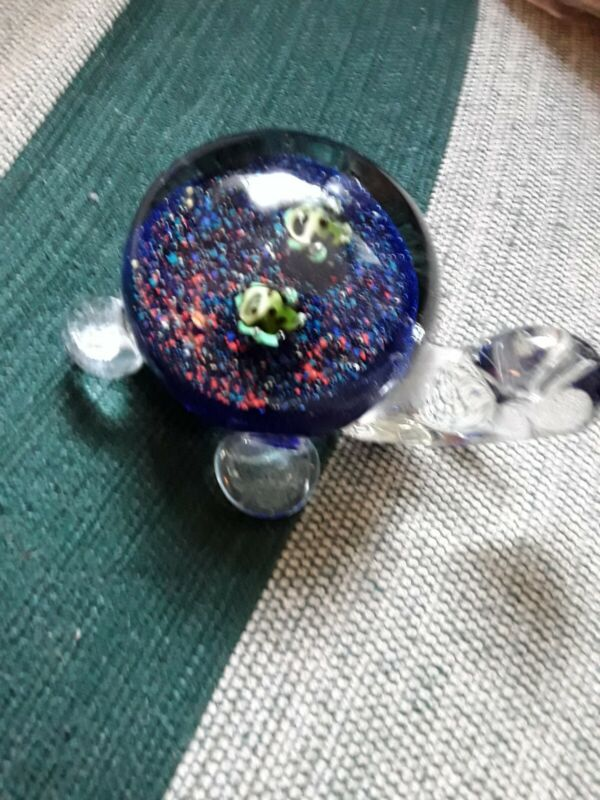 BLUE GLASS HEAVY TURTLE PAPERWEIGHT