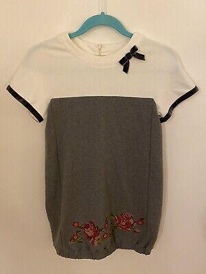 Lapin House Girls 12yr Grey Fleece Dress/ Tunic Top Cross Stitch Roses Wore 1X
