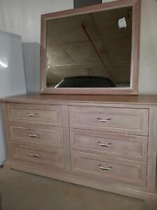 White wash cherry wood chest of drawers and mirror