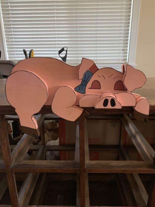 Vintage Sleeping Wood Pig