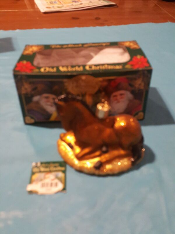 BABY HORSE FOAL OLD WORLD CHRISTMAS GLASS ORNAMENT EUC 2685