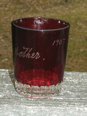 """Antique 3 3/4"""" Ruby Red Flash Cup Tumbler-Mother-1907-Clear Bottom"""