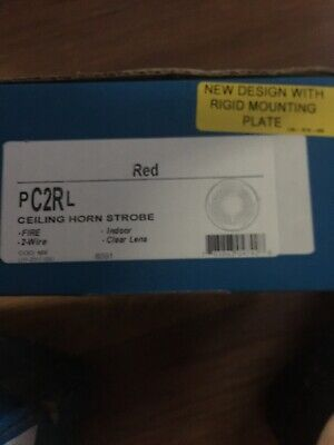 System Sensor Pc2rl Red Ceiling Fire Alarm Horn Strobe 2wire Clear Lens
