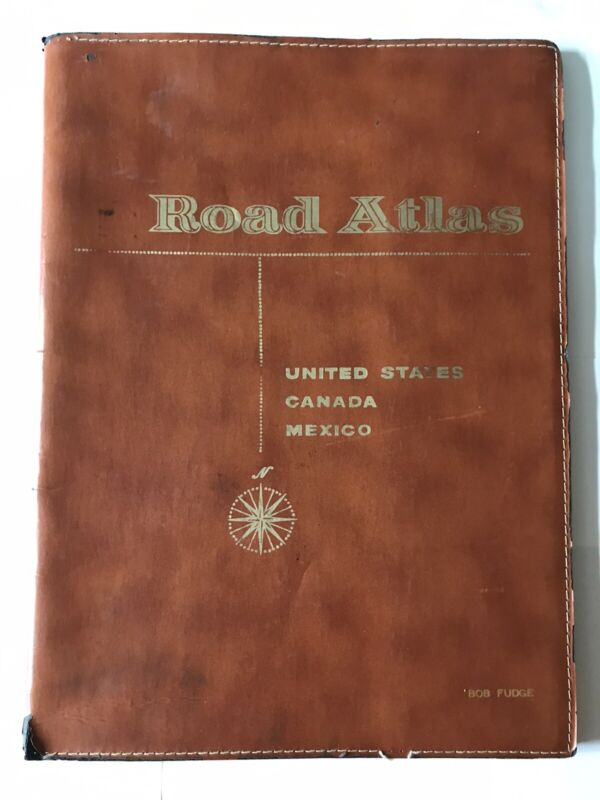 c.1976 VTG Road Atlas USA,Canada,Mexico LARGE~In Leatherette Folder~MANCAVE!