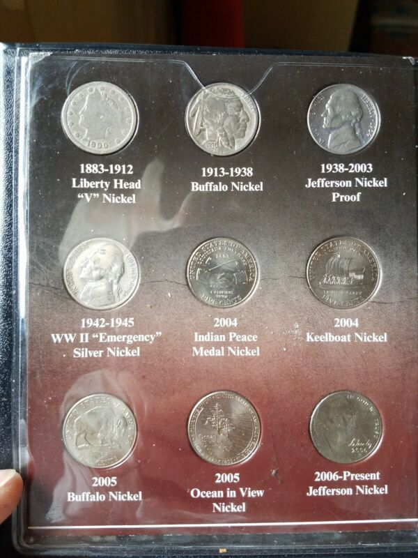 100 YEARS OF AMERICAN NICKELS - 9 COIN TYPE SET. From First Commemorative Mint