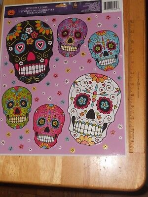Skull Decals Window Clings Any OCCASION, All Souls Day of The Dead...6 in 1 Pack - All Souls Day Halloween