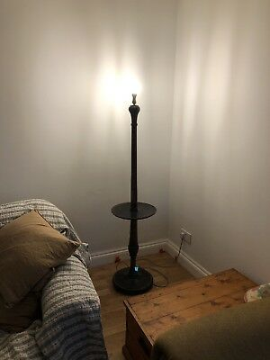Vintage oak Wood Turned Wooden Standard Lamp re-wired working Cottage Chic