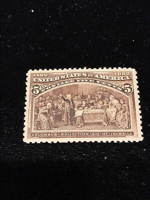 US Stamp #234 5 Cent Mint  Light Hinged.