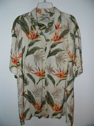Paradise Found 2XL Shirt FLOWERS BIRD OF PARADISE Honolulu Hawaii 100% RAYON