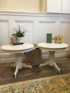 Pair of Antique White Pedestal End / Side / Night Tables
