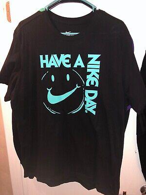 NIKE Have A Nike Day Men's XL Black Tee T-Shirt Hyper Jade Aurora Green Blue