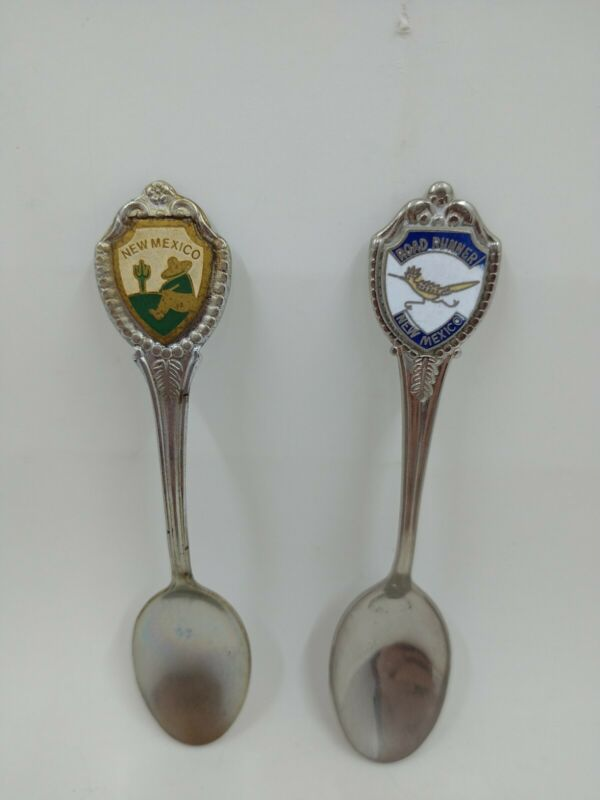 Lot of 2 Vintage New Mexico Collectible Souvenir Spoons Road Runner