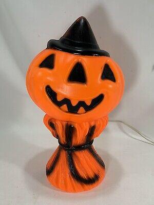 Vintage Plastic Pumpkin Jack O Lantern Blow Mold Hay Stack Scarecrow USA