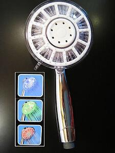 LED Duschkopf mit 2m Brauseschlauch Handbrause Brause Duscharmatur Beleuchtung