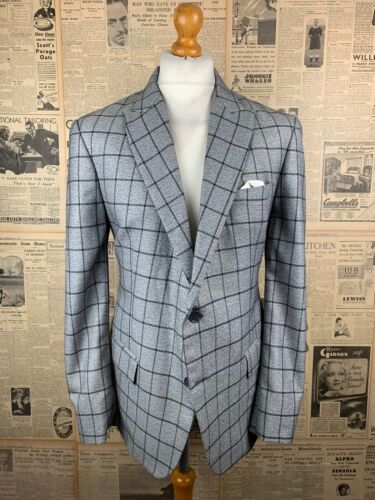 Vintage bespoke grey checked suit size 42 44